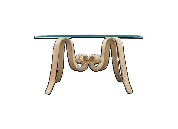 Table basse ronde fer forgé doré 1960s