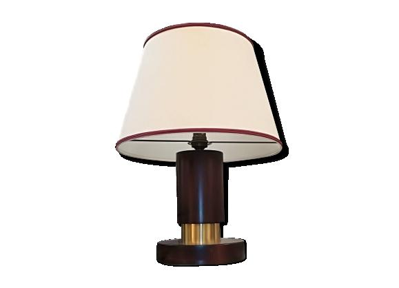 Lampe de table art déco en palissandre et laiton, vers 1930