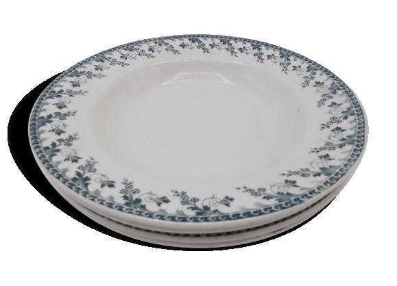 Assiettes creuses en porcelaine opaque de Gien-Terre de fer