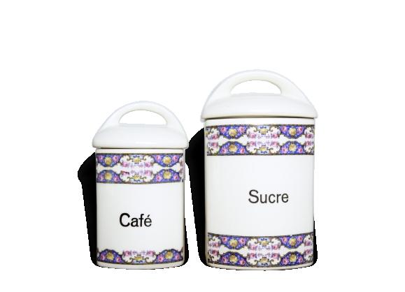 Boîtes à sucre et à café en porcelaine
