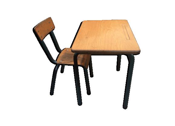 Bureau cole et chaise vintage ann es 60 bois mat riau for Chaise annee 80