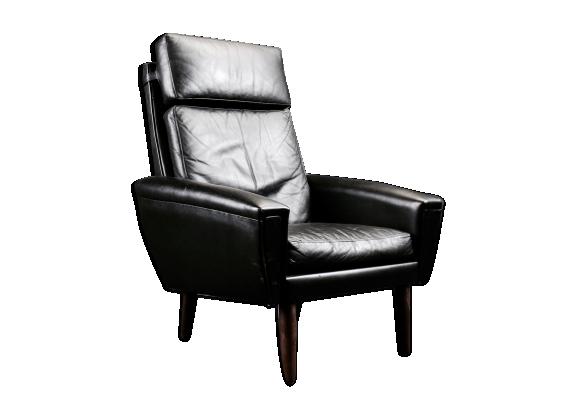 Fauteuil cuir noir design classique scandinave