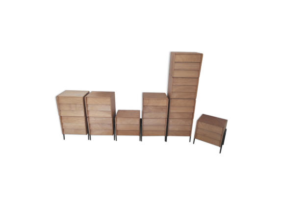 chevet ann es 50 bois mat riau marron dans son jus vintage. Black Bedroom Furniture Sets. Home Design Ideas