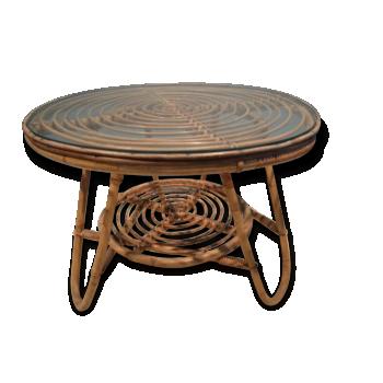 table vintage piédestal en rotin