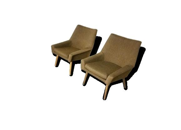 Fauteuils cocktails Danois années 50 design structuré lignes basses
