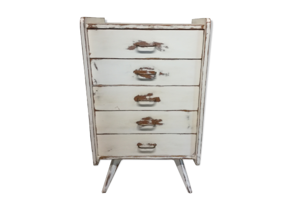 commode chiffonnier pieds compas bois mat riau blanc bon tat vintage. Black Bedroom Furniture Sets. Home Design Ideas
