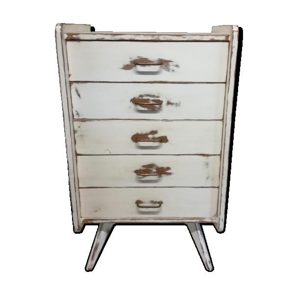 commode chiffonnier pieds compas bois mat riau blanc bon tat vintage. Black Bedroom Furniture Sets. Home Design Ideas