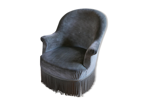 fauteuil crapaud en velours vert amande bordures frang es tissu gris dans son jus. Black Bedroom Furniture Sets. Home Design Ideas