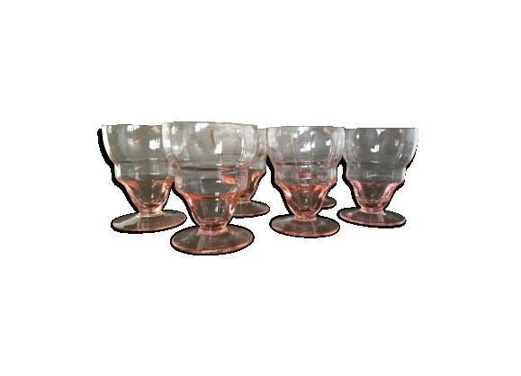 Ensemble de 6 jolis verres couleur rosée