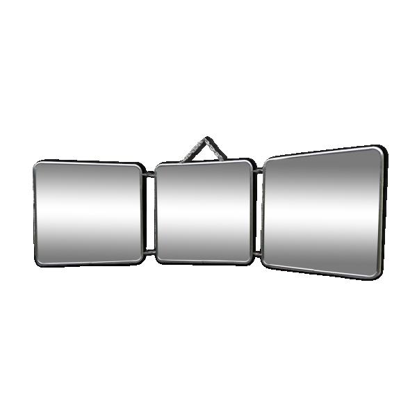 Miroir triptyque de barbier m tal transparent bon for Miroir triptyque barbier