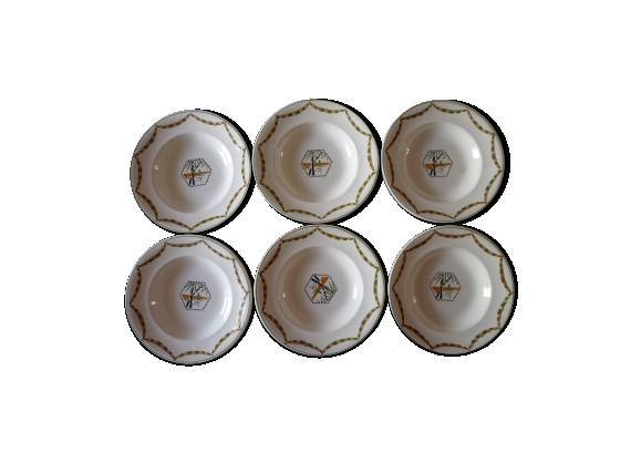 Assiettes creuses porcelaine Longwy art déco