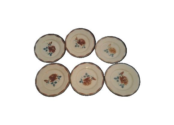 Ensemble de 6 assiettes en faïence de Digoin décor rose marron