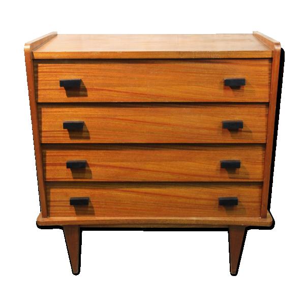 commode pieds compas ann es 60 bois mat riau marron bon tat scandinave. Black Bedroom Furniture Sets. Home Design Ideas