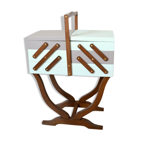 boite a couture en bois sur pied bo te couture en bois de fil en aiguille 36x1 achat. Black Bedroom Furniture Sets. Home Design Ideas