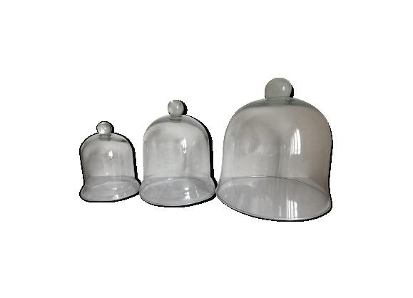 Lot de 3 cloches en verre