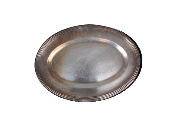 Plat ovale en métal argenté