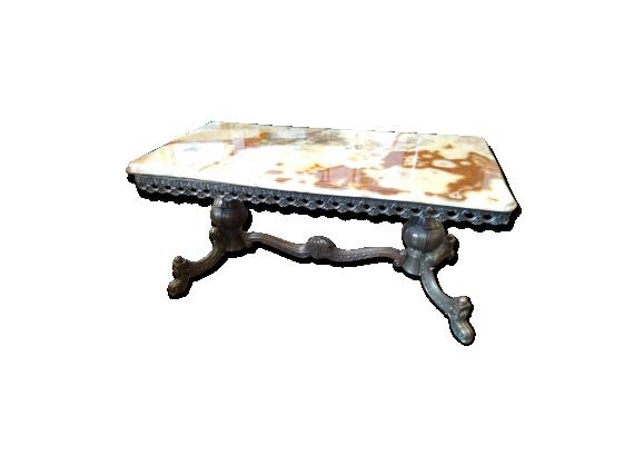 Table basse ancienne en fer forgé plateau en marbre