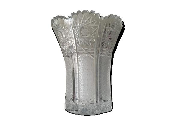 vase en cristal verre et cristal transparent bon tat classique. Black Bedroom Furniture Sets. Home Design Ideas
