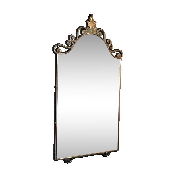 Miroir baroque des ann es 50 verre et cristal argent for Miroir annees 50