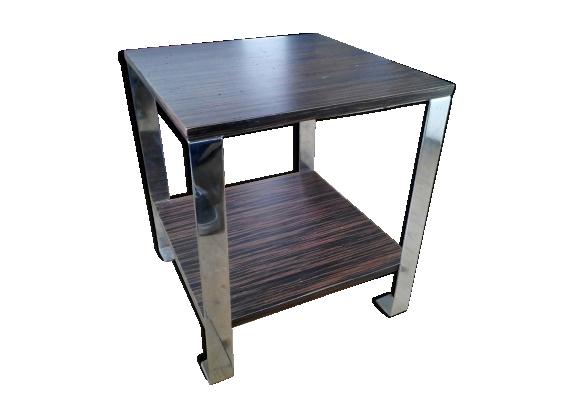 Table basse en acier chromé et palissandre au design vintage