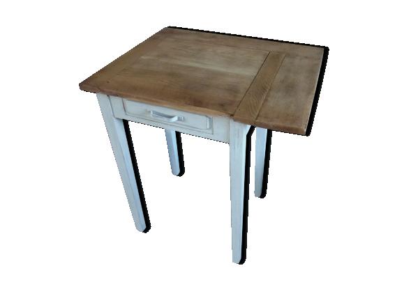 table rabats bureau en ch ne pi tement patin gris perle plateau bois finition cir e bois. Black Bedroom Furniture Sets. Home Design Ideas