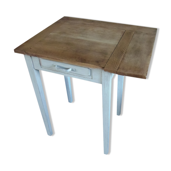 Table rabats bureau en ch ne pi tement patin gris for Plateau bois gris