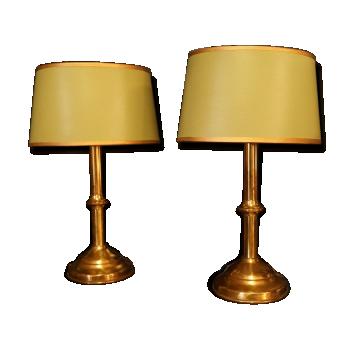 """Paire de lampe """"snmb"""" en laiton 1980"""