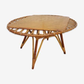 Table basse rotin vintage 50-60