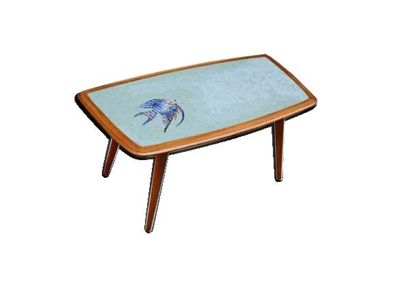 Table basse en bois, verre et carreaux de mosaïque, 1950