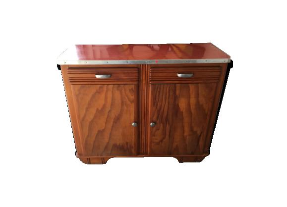 buffet bas mado rouge bois mat riau rouge bon tat vintage. Black Bedroom Furniture Sets. Home Design Ideas