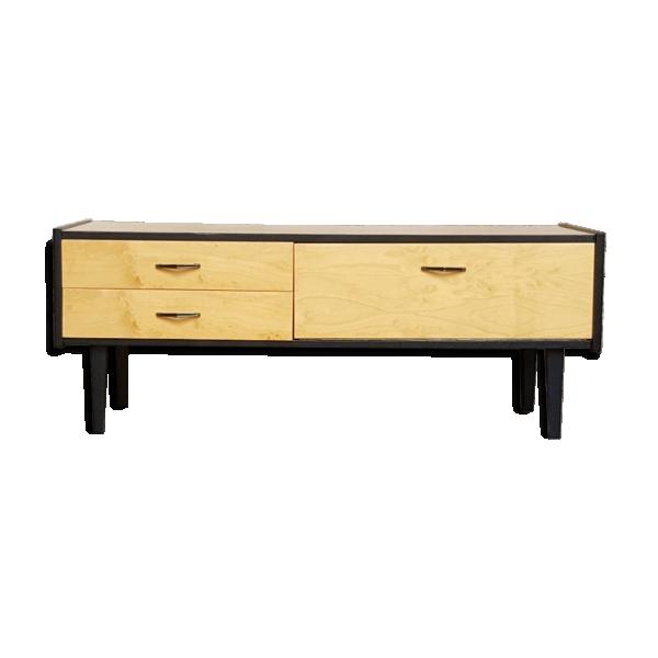 meuble bas tv vintage noir bois pieds compas bois. Black Bedroom Furniture Sets. Home Design Ideas
