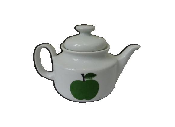 Théière en porcelaine blanche avec pomme verte des années 70