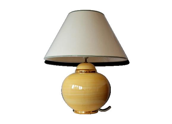 lampe de salon kostka c ramique porcelaine fa ence jaune bon tat classique. Black Bedroom Furniture Sets. Home Design Ideas