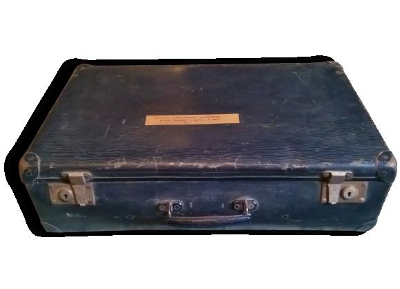 Valise noire vintage en carton, étiquettes d'époque