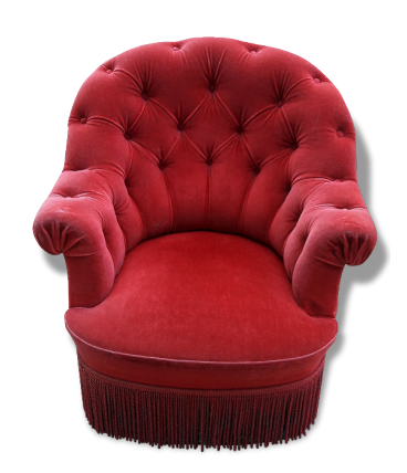 Fauteuil crapaud velours rouge