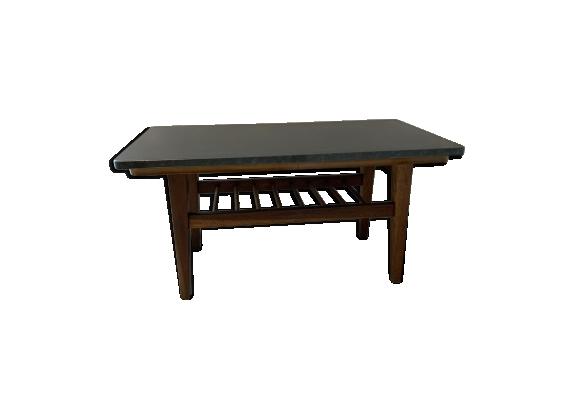 Table basse vintage avec plateau en granit