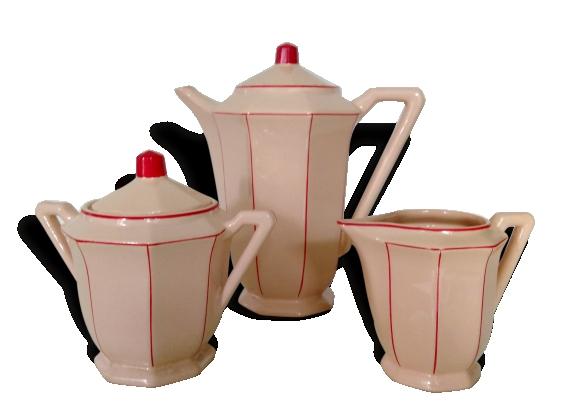 Cafetière, sucrier et pot à lait rose et rouge