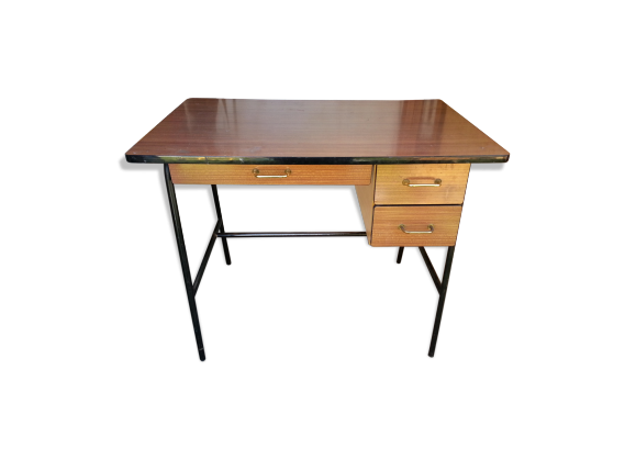 bureau enfant vintage 1960 70 pieds m tal bois mat riau marron dans son jus vintage. Black Bedroom Furniture Sets. Home Design Ideas