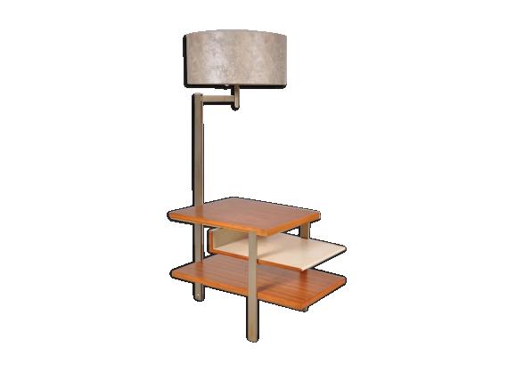 table d 39 appoint en teck m tal avec une lampe int gr e 1960s bois mat riau multicolore. Black Bedroom Furniture Sets. Home Design Ideas