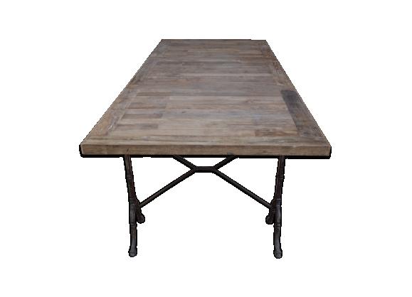 Table ancienne en bois massif et métal