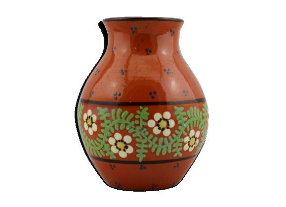 Vase en céramique alsacienne motif à fleur