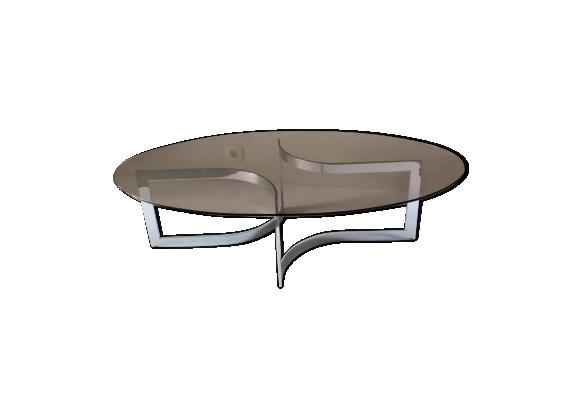 Table basse en acier chromé et verre de Paul Legeard - 1970