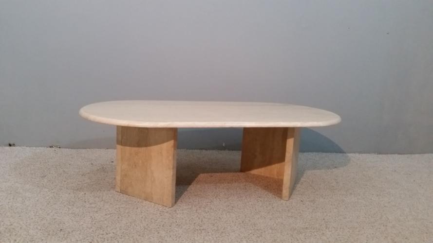 table basse ann e 70 pierre et pl tre blanc bon tat design. Black Bedroom Furniture Sets. Home Design Ideas