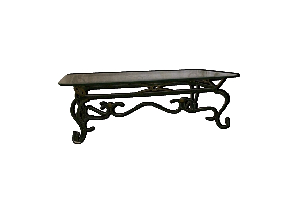 Table basse fer forg - Table basse en verre et fer forge ...