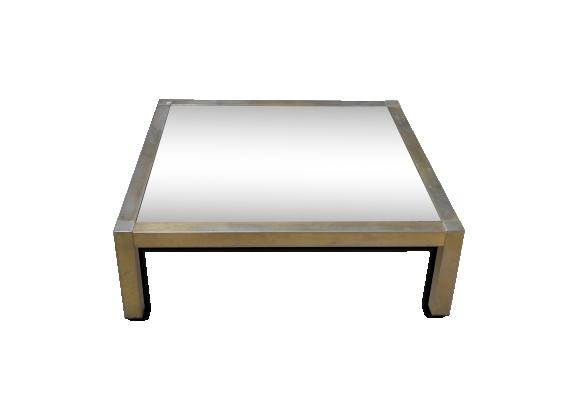 Table basse en verre et métal