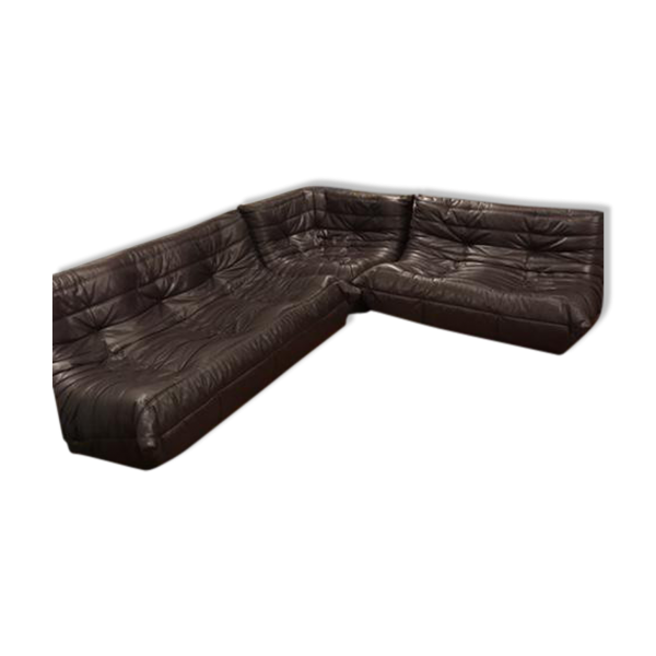 ensemble canap togo michel ducaroy ligne roset cuir marron bon tat design. Black Bedroom Furniture Sets. Home Design Ideas
