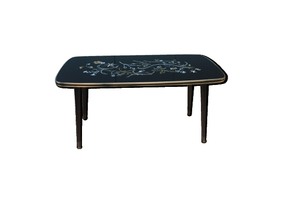 Table basse sixties verre et metal