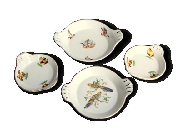 Plats à Gratin en Porcelaine Blanches - Lot de 4 - Petites Assiettes Rondes avec Poignées - Décor Oiseaux - Porcelaine de Limoges