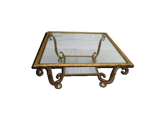Table en verre et fer forgé doré à la feuille vintage