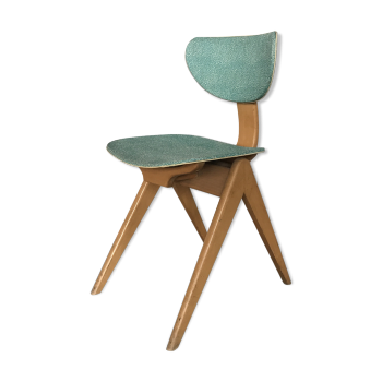 Chaise moderniste années 1950 vintage en bois clair